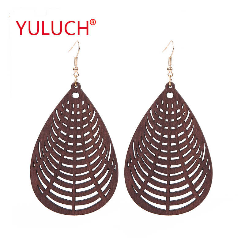 YULUCH ethnic style design wooden drop hollow hollow dice earrings for African women popular earrings jewelry fashion gifts
