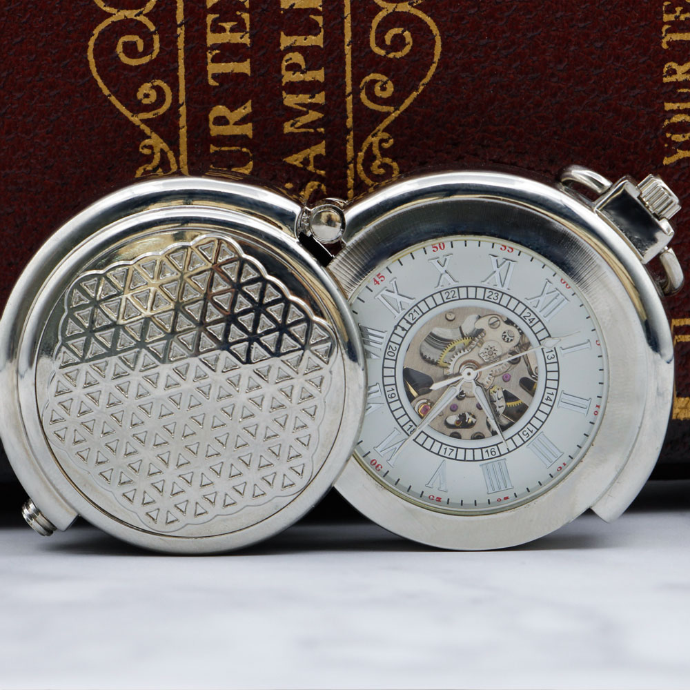 New Unique Skeleton Dial Vintage Silver Mechanical Pocket Watch Best Gift Men Women Watches With Fob Chain PJX053
