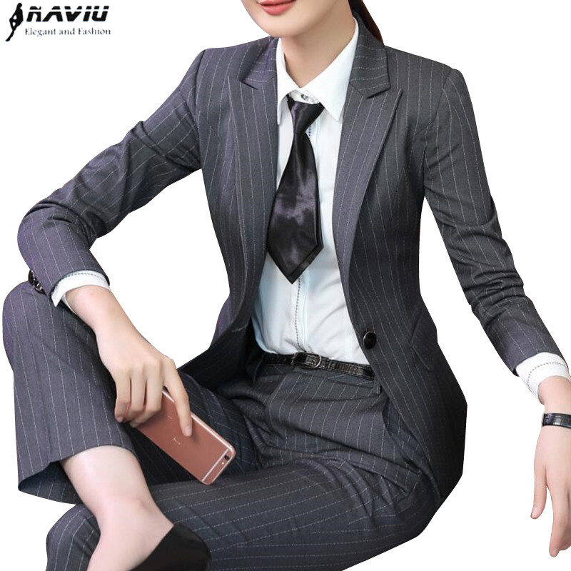 Winter fashion women stripe pant suit formal Business long sleeve slim blazer and trousers office ladies