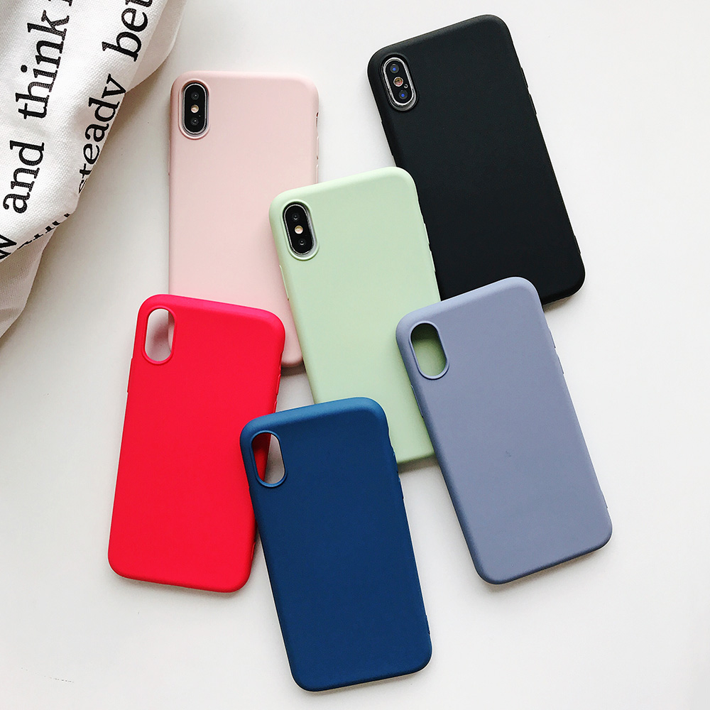 KIPX1124_8_JONSNOW Pure Color Silicone Case for iPhone XS XR XS Max 6 6S 6P 7 8 Plus Ultra-thin Matte Dirt-resistant Soft TPU Solid Cover