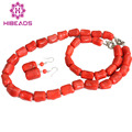 Abalorios de lujo de Nigeria Boda Africana Set Del Coral Rojo de La Joyería Set Collar Pendientes Pulsera Envío Gratis CJ064