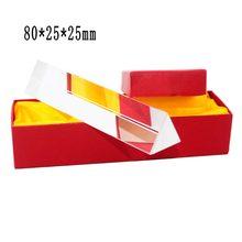 (8*2,5 cm) vidrio óptico arcoíris que refleja el prisma Triangular física enseñanza espectro de luz prisma Triple de color con caja de regalo