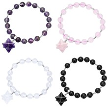 SUNYIK 8mm Stones Beads Healing Crystal Stretch Bracelet with Merkaba Star Charm 7 Unisex