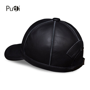 Image 4 - HL028 genuine leather men baseball cap hat new brand mens real leather adult solid adjustable hats/caps