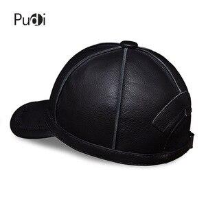 Image 4 - Hl028本革男性野球キャップ帽子新ブランドメンズリアルレザー大人固体調節可能な帽子/キャップ