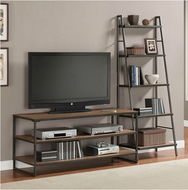 LOFT American Style European Industrial Iron Loft With Ladder TV Cabinet  Retro Wood To Do