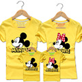 1pc 2016 Family Matching Outfits Family Look Cotton T-shirt Mick Mouse printing For Summer 20Colors Dad&Mon&Sun&Daughter QZ021