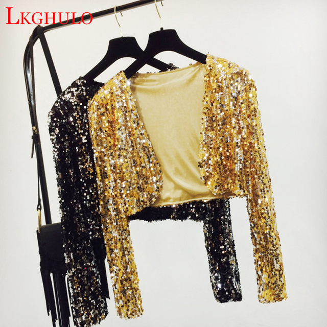 301a9a27 Sparkly Sexy Women Sequin Cardigan Jacket Coat Long Sleeve Short Cropped  Bolero Shrug Clubwear Vintage Party Costumes A243