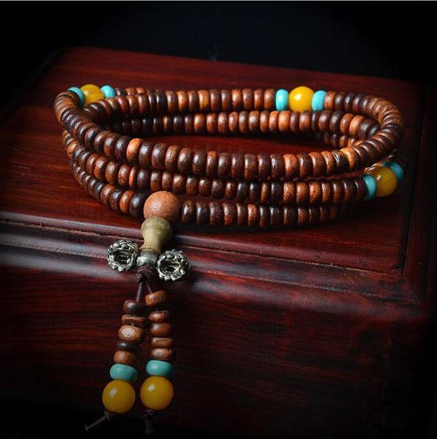 Hot!Vintage Natural Wood Beads Stretch Wooden Bracelet&Bangle Men handmade 216 Buddha Bracelets & Bangle  LQ