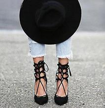 2016เซ็กซี่ผู้หญิงปั๊มG Ladiatorชี้นิ้วเท้าส้นสูงบางรองเท้าผู้หญิงลูกไม้ขึ้นกลวงออกปั๊มสาวรองเท้าแต่งงานรองเท้าข้อเท้า