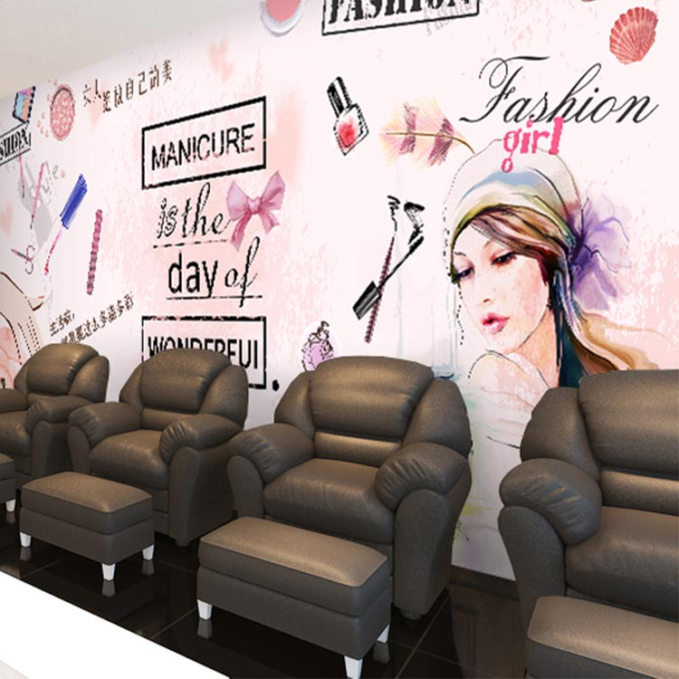 Free Shipping Hand painted makeup modern minimalist wallpaper beauty salon Manicure makeup clothing shop wallpaper mural