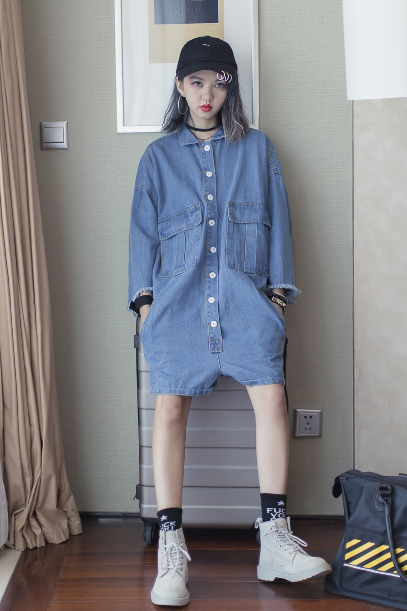 Street fashion solid color tooling water wash pocket single breasted POLO collar plus size denim bf