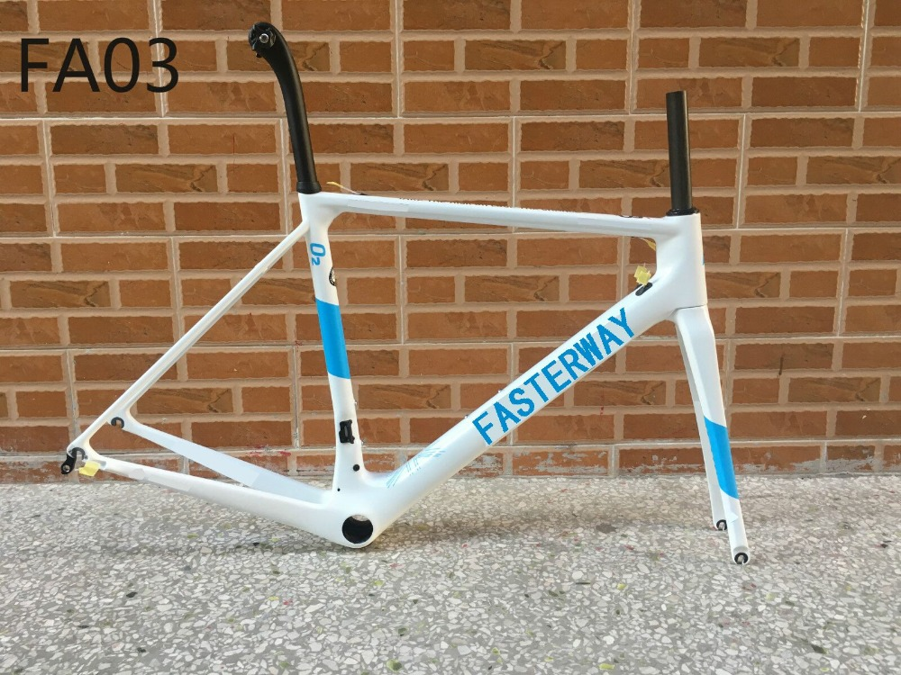 Hot 2018 fasterway brand O2 Blue with white decal carbon road frame carbon Frame Seatpost Fork