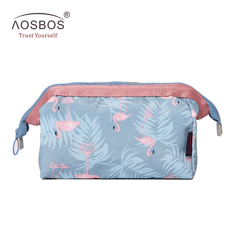 Aosbos Women Canvas Cosmetic Bags Floral Print Travel Storage Pouch Professional Makeup Bag Necessaries Beauty Toiletry