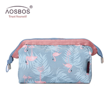 Aosbos Women Canvas Cosmetic Bags Floral Print Travel Storage Pouch Professional Makeup Bag Necessaries Beauty Toiletry Bag