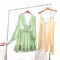 Top Quality Runway Dresses 2019 Spring Summer New Mink Green Floral Lantern Sleeve Smoked Waist Ruffles A line Mini Silk Dress