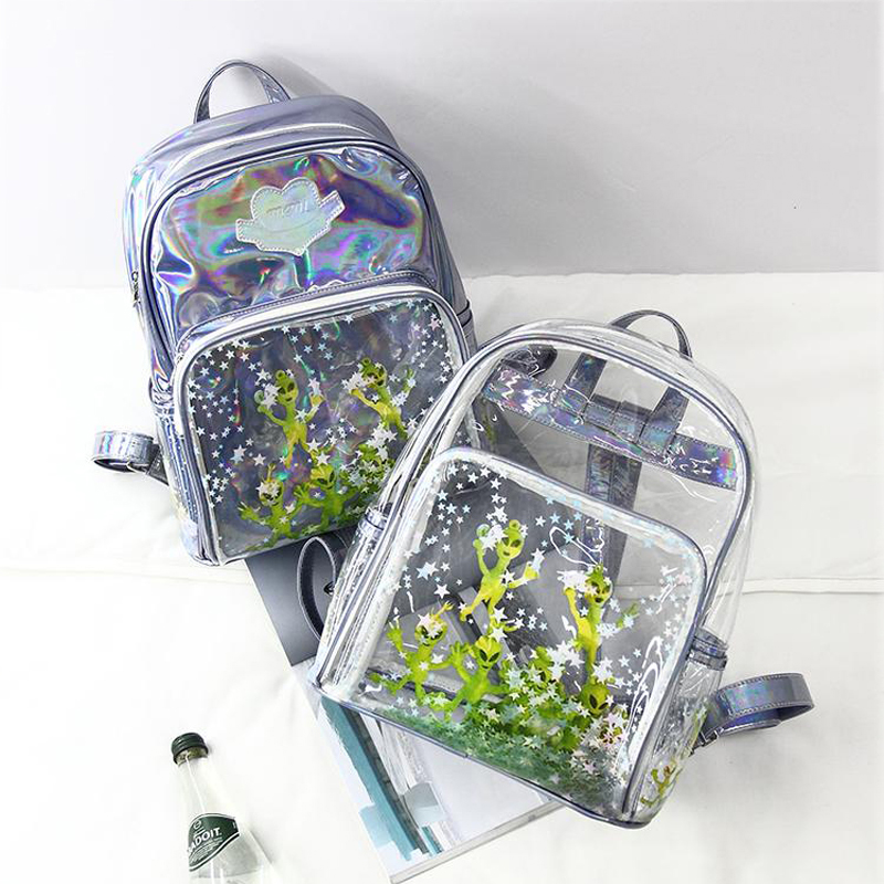 Laser backpack students in 2017 new ultra-perspective Harajuku alien transparent sequins star shoulder bag z954 summer casual bodycon dresses