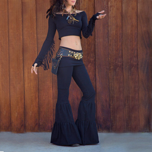 dce3459eb7 Plus Size Bell-bottoms New Hippie BOHO Women Tie Dye Gypsy Bell Bottom  Loose Pleated Wide Leg Flared Pants Black