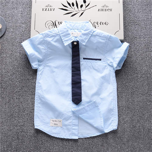 2017 summer fashion short sleeved boy blouse breathable 100 cotton children s shirt 2 to 7