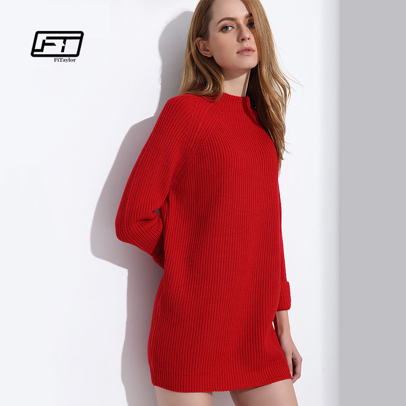 Fitaylor Robe Pull Femme Hiver Sweater Dress Women White