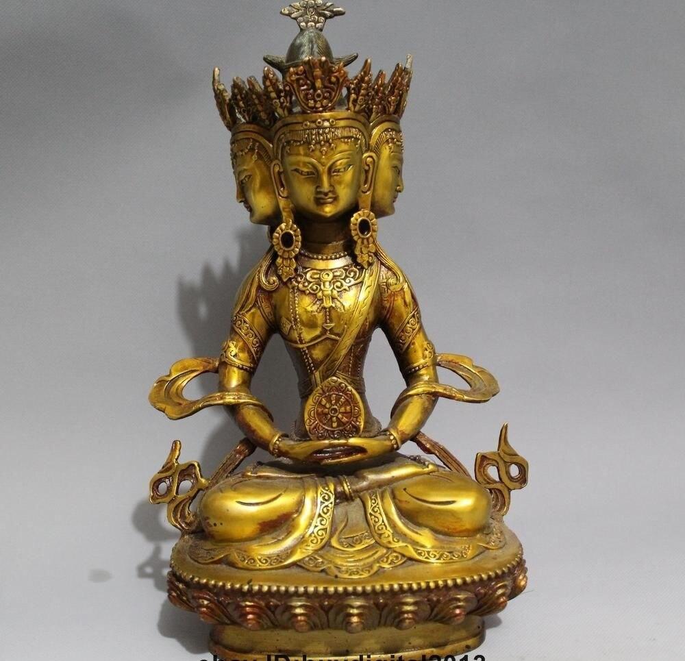 12 Tibet TiBrass Brass Buddhism 4 Face Head Longevity Amitayus Buddha Statue12 Tibet TiBrass Brass Buddhism 4 Face Head Longevity Amitayus Buddha Statue