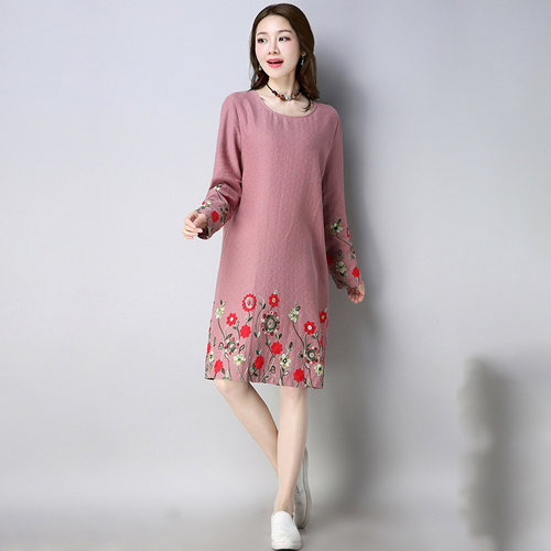 7c414fe73a4e5 2018 Spring Plus Size Gown Cotton And Linen Women Dresses Vintage Loose  Jurken Embroidery Ethnic Style Dress Womens