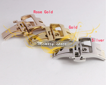 Livraison gratuite 18 mm neuf de haute qualité argent en acier inoxydable déploiement bande de montre boucle déployante