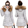2016 New Women Winter Jacket Hooded Large Fur Collar Winter Coat WomenThick Warm Long Cotton-padded Coat Female Plus Size W217