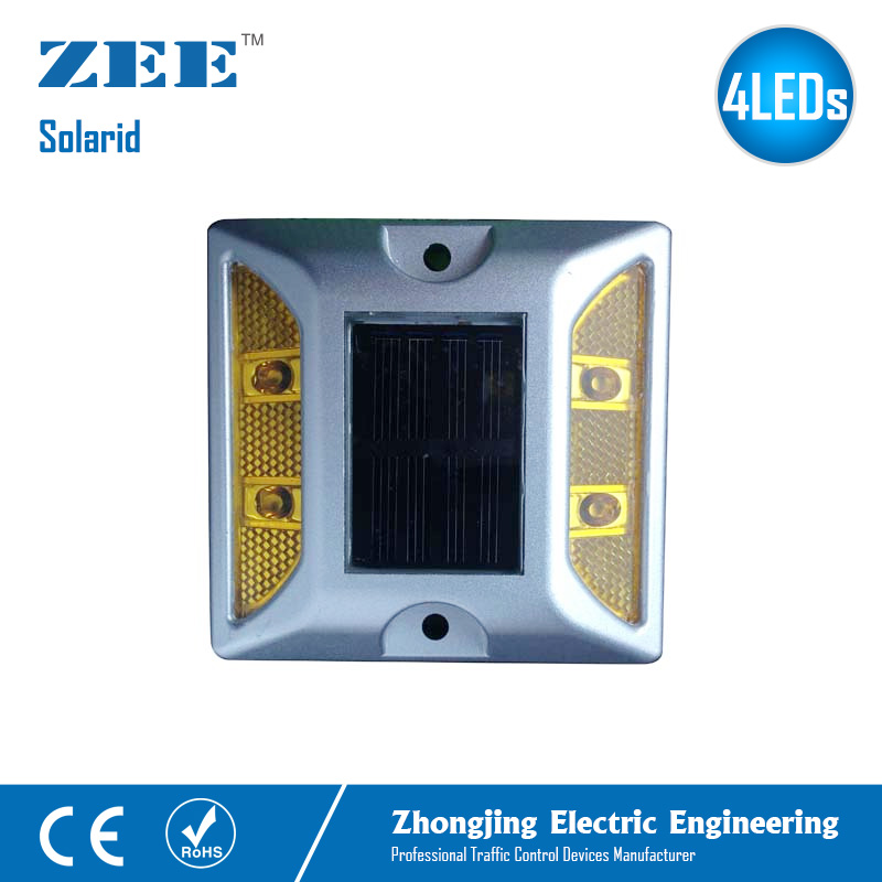 Solarid Solar Road Stud 4 LEDs Solar Powered Sign Built In Battery Reflective Yellow Amber Signal Die-cast Aluminum Road Stud
