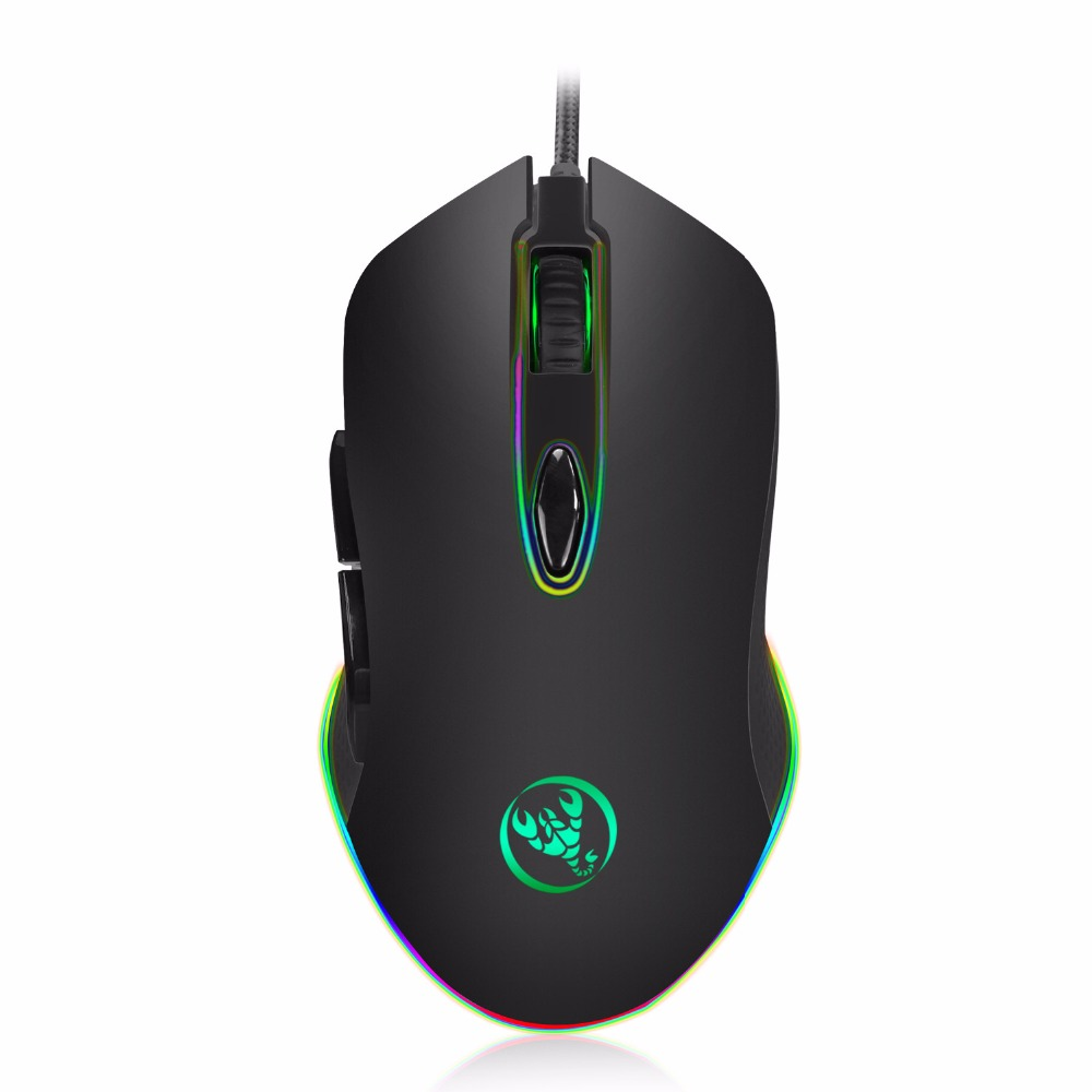 Hongsund RGB macro definition USB Wired Gaming Mouse 6 Buttons 4800DPI  Optical Computer Game Mouse Mice for PC Laptop Notebook