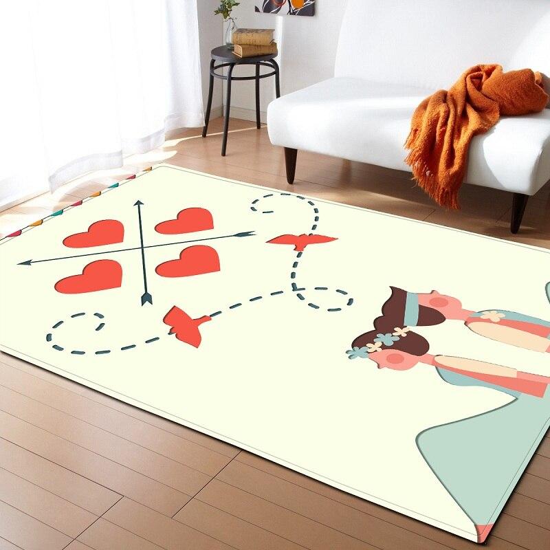 Aquarelle fleur plante Art coeur papillon tapis pour salon tapis enfants rond Burrito couverture maison d'etat couverture de sol