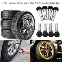 4pcs TR414 Chrome Aluminium Tubeless Car Styling Snap In Wheel Accessories Tyre Tire Valve Stems Rubber Dust Caps