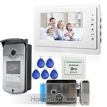ENVÍO LIBRE 7 pulgadas Teléfono Video de La Puerta Sistema de Intercomunicación 1 Monitor + 1 Timbre de La Cámara de Acceso RFID + Cerradura Eléctrica En Stock