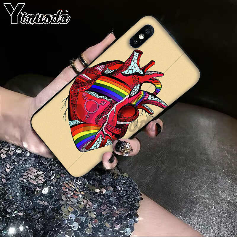 Yinuoda Gay Lesbian LGBT Rainbow Pride ART Phone Case for Apple iPhone 8 7 6 6S Plus X XS MAX 5 5S SE XR 11 11pro 11promax