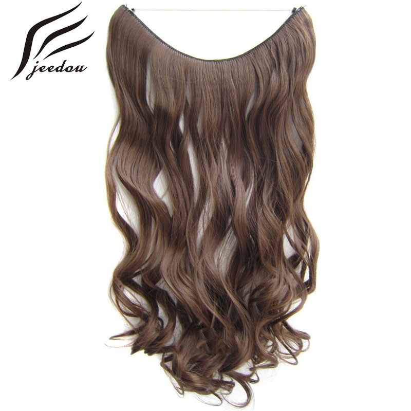 jeedou Wavy Synthetic Line Flip Hair Extensions 0ne Piece 24 60cm 100g Black Blond Gray Mix