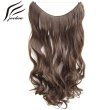 jeedou Wavy Synthetic Line Flip Hair Extensions 0ne Piece 24″ 60cm 100g Black Blond Gray Mix Color Women's Simple Hairpieces