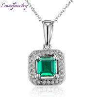 Vintage Princess Cut 5mm Solid 14Kt White Gold Diamond Emerald Wedding Pendant Wholesale Fine Jewelry Christams Gift
