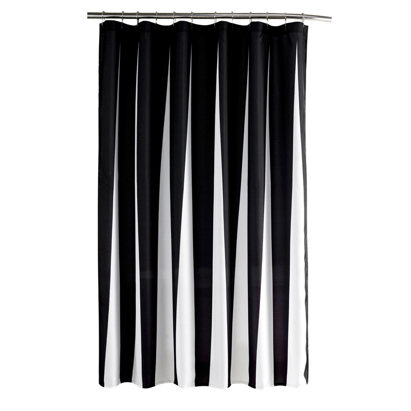 Modern Polyester Shower Curtains Black White Striped Printed Waterproof Fabric For Bathroom Eco Friendly Home Hotel Supply In From