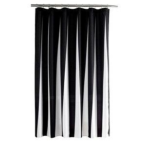Image 4 - Modern Polyester duş perdeleri siyah beyaz çizgili baskılı su geçirmez kumaş banyo için çevre dostu ev otel kaynağı