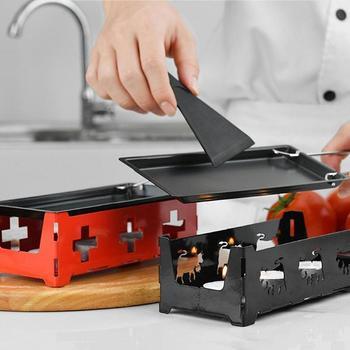 Padella Grill Per Il Formaggio Padella Antiaderente ghisa wok di Ferro In Acciaio Al Carbonio Minuto Fornello Con Basamento In Acciaio Con Manico