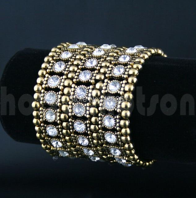 3 Row Gold AB Crystal Rhinestone Stretch Cuff Chain Charms  Bracelets &Bangle Fashion Jewelry 2pcs DIY Vintage For Women   X557