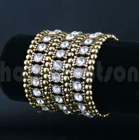 Fashion Jewelry Vintage 3 Row Gold AB Crystal Rhinestone Stretch Cuff Chain Charms Bracelets Bangle For