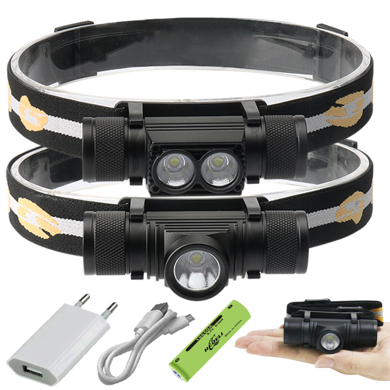 100000 Glare Mini Led Headlamp XM-L2 Usb Head Lamp 18650 Rechargeable Headlight Head Torch Head Lamps Hunting Hunting Headlight