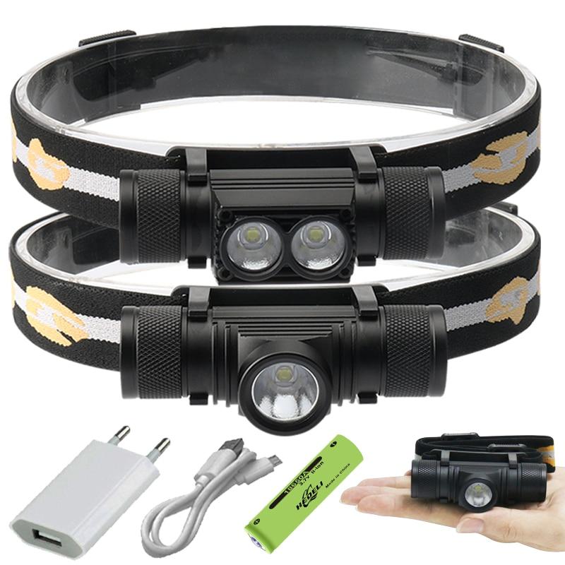 100000 Glare Mini Led Headlamp XM-L2 Usb Head Lamp 18650 Rechargeable Headlight Head Torch Head Lamps Hunting Hunting Headlight