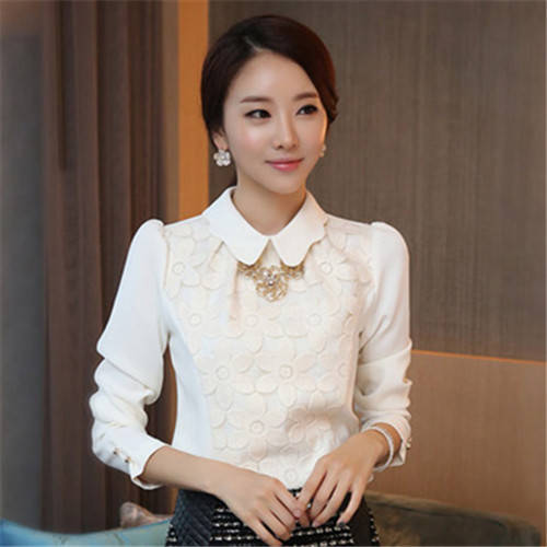 23460d2d020aa7 Fancy Shirts For Women Work Wear Casual Shirt Floral White Blouse With Lace  Chiffon Blouse Long Sleeve Plus Size XXL Tops 96502