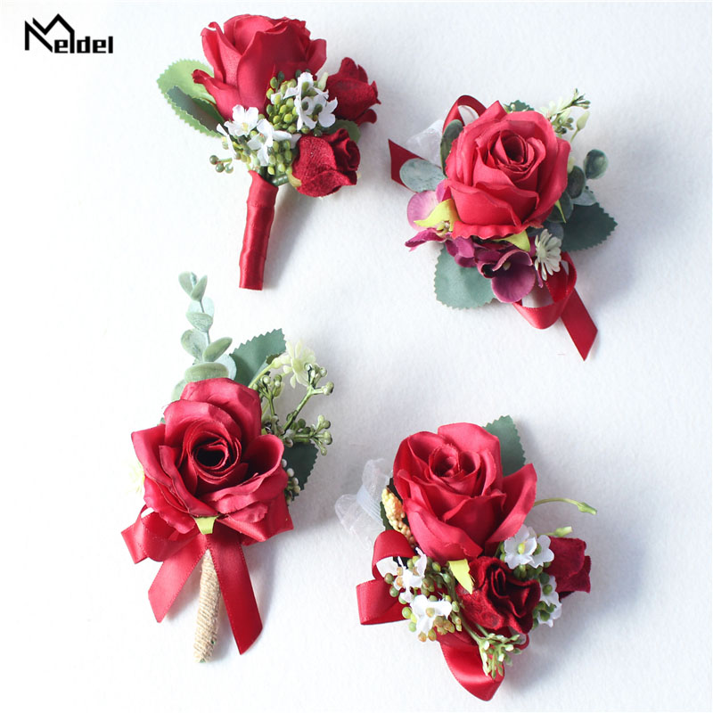 Meldel Burgundy Boutonniere Groom Corsage Bridal Wrist Corsage Bracelet Red Artificial Silk Rose Flower Wedding Meeting Supplies