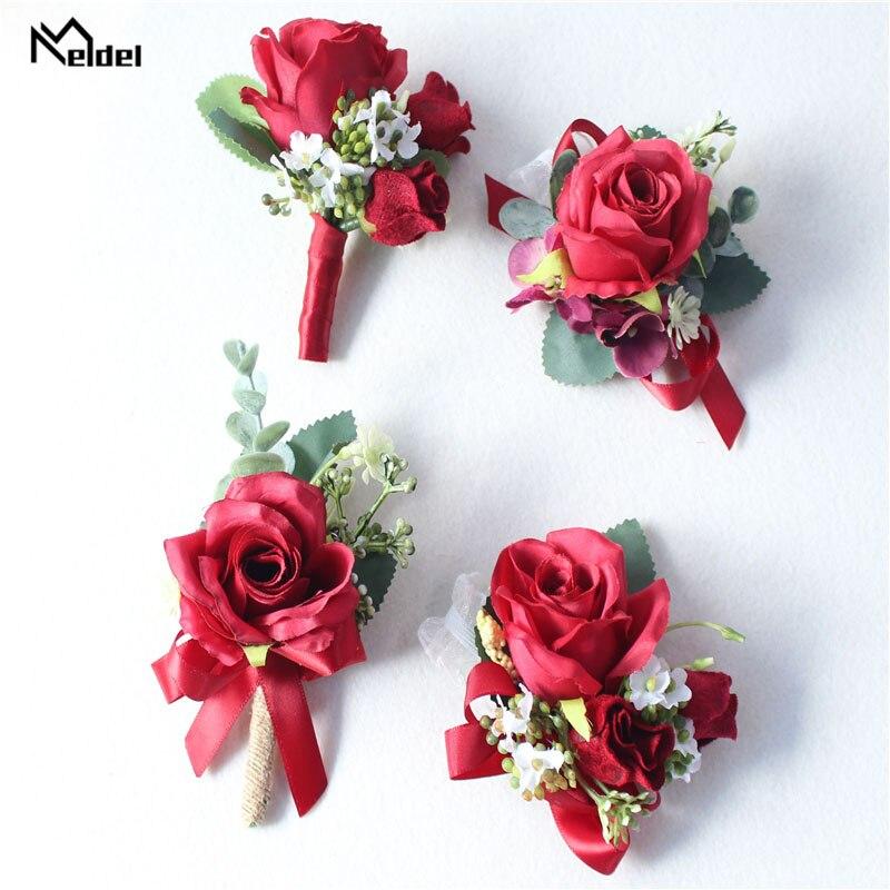 Meldel Burgundy Boutonniere Groom Corsage Bridal Wrist Corsage Bracelet Red Artificial Silk Rose Flower Wedding Meeting Supplies