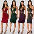 Женская Сексуальная Slim Черный Рукавов О-Образным Вырезом Кружева Цветочные Аппликации Колен Оболочка Dress Клубная Одежда