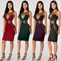 Womens Sexy Slim Black Sleeveless O-Neck Lace Floral Applique Knee Length Sheath Dress Clubwear