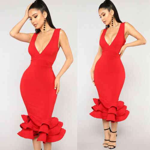 Zomer Mode Hot Vrouwen Lady Femme Effen Rode Diner Slim Bodycon Sexy Formele Bruiloft Elegante Ruches Party Ball Prom Gown jurk